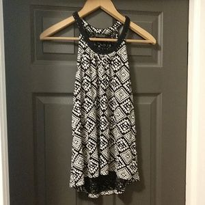 Lucky Brand Black and White Patterned Halter Tank